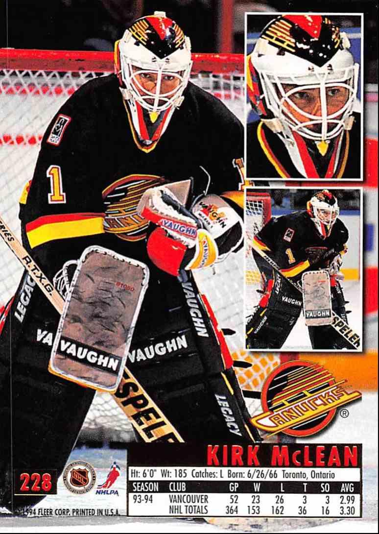 1994-95 Ultra Kirk McLean #228 card back image