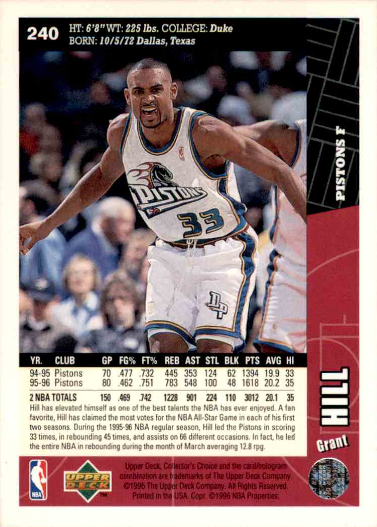1996-97 Collector's Choice Grant Hill #240 card back image