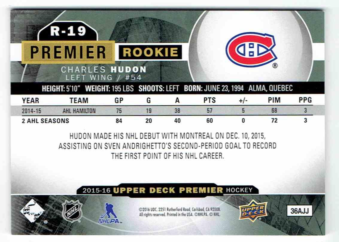 2015-16 Upper Deck Premier Rookie Charles Hudon (B) #R-19 card back image