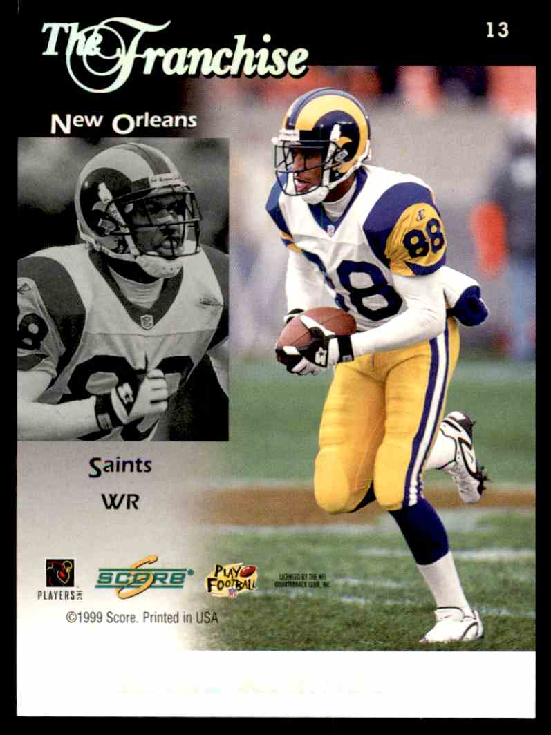 1999 Score Future Franchise Ricky Williams Eddie Kennison #13 card back image