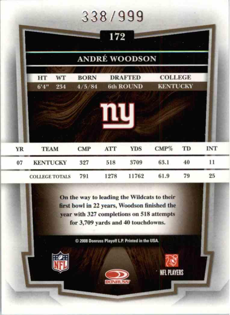 2008 Donruss Classics Andre Woodson #172 card back image