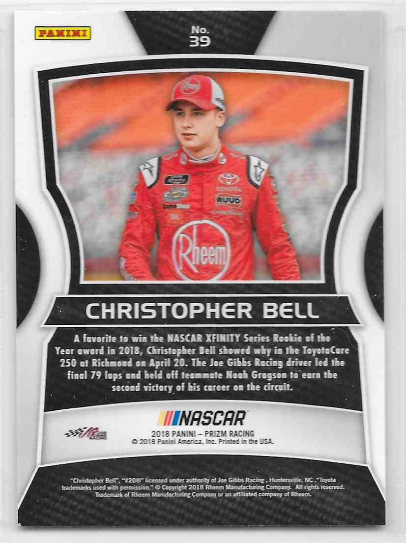 2018 Panini Prizm Christopher Bell #39 card back image