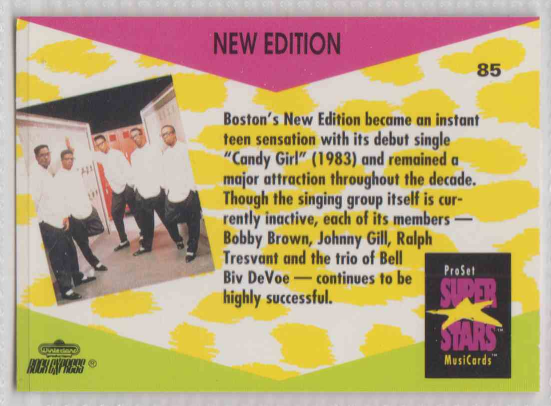 1991 Pro Set SuperStars MusiCards New Edition #85 card back image
