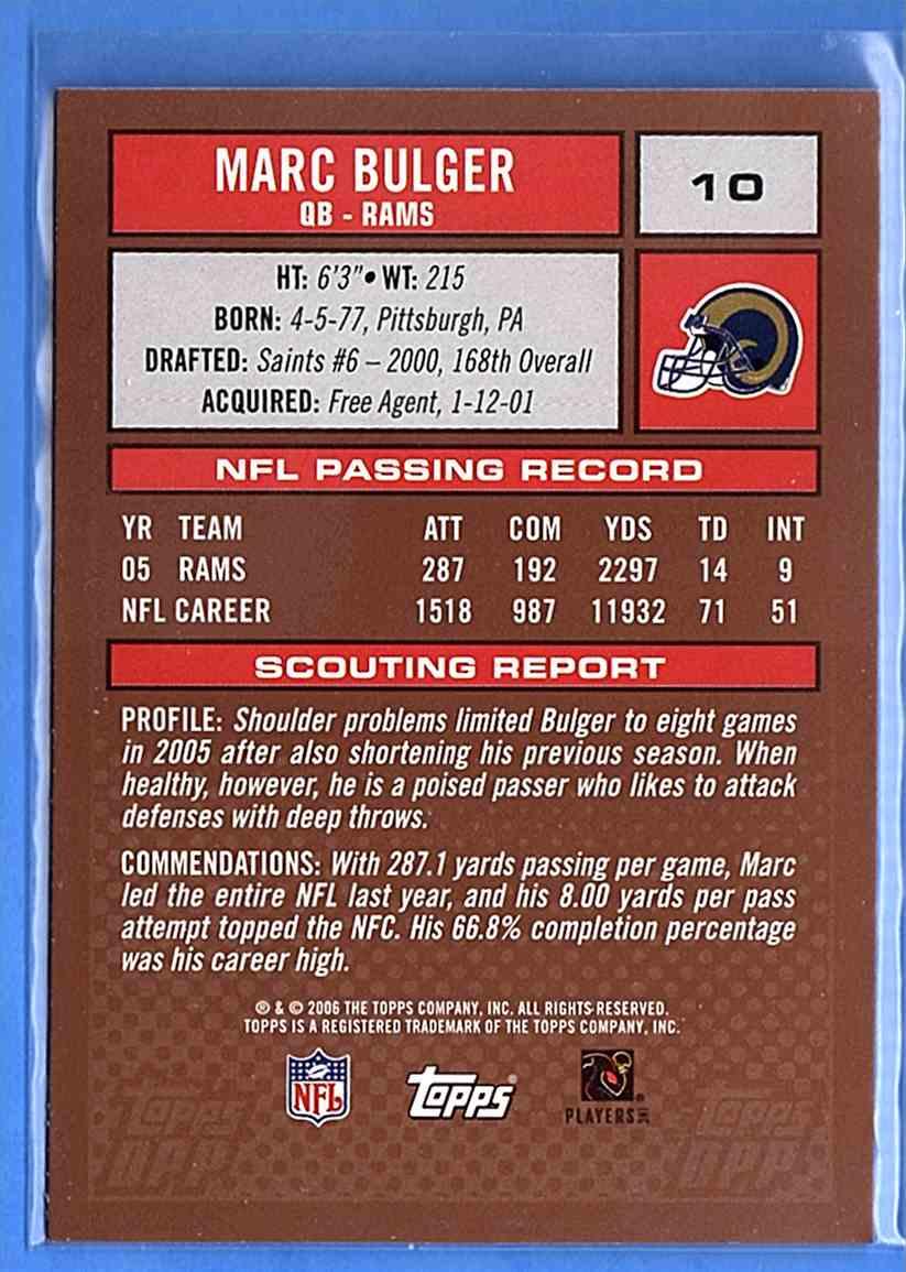 2006 Topps Draft Picks And Prospects Marc Bulger #10 card back image