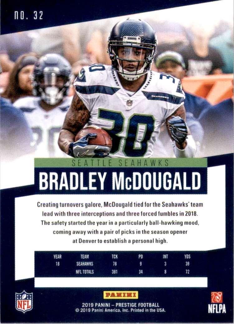 2019 Prestige Bradley McDougald #32 card back image