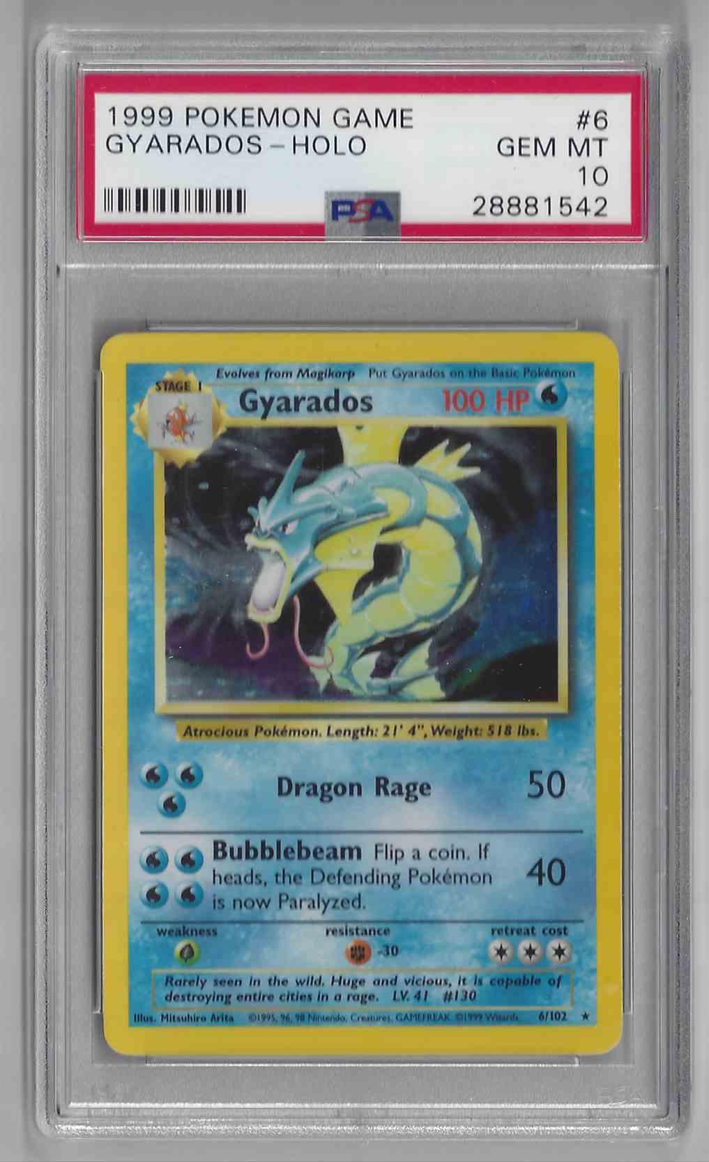 1999 Pokemon Game Unlimited Gyarados #6 card front image