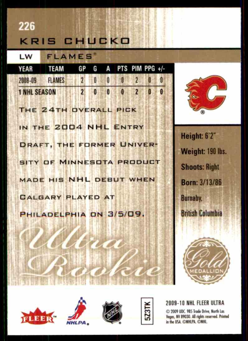 2009-10 Ultra Gold Medallion Rookie Kris Chucko #226 card back image