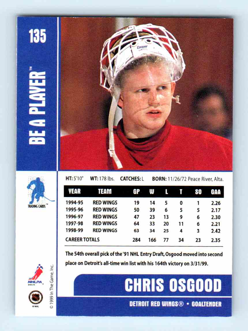 1999-00 Be A Player Chris Osgood #135 card back image