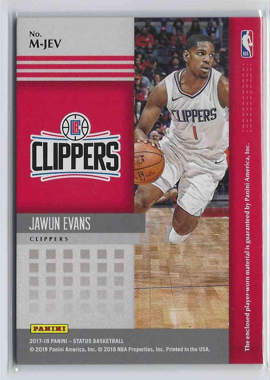 2017-18 Anini Status Materials Jawun Evans #M-JEV card back image