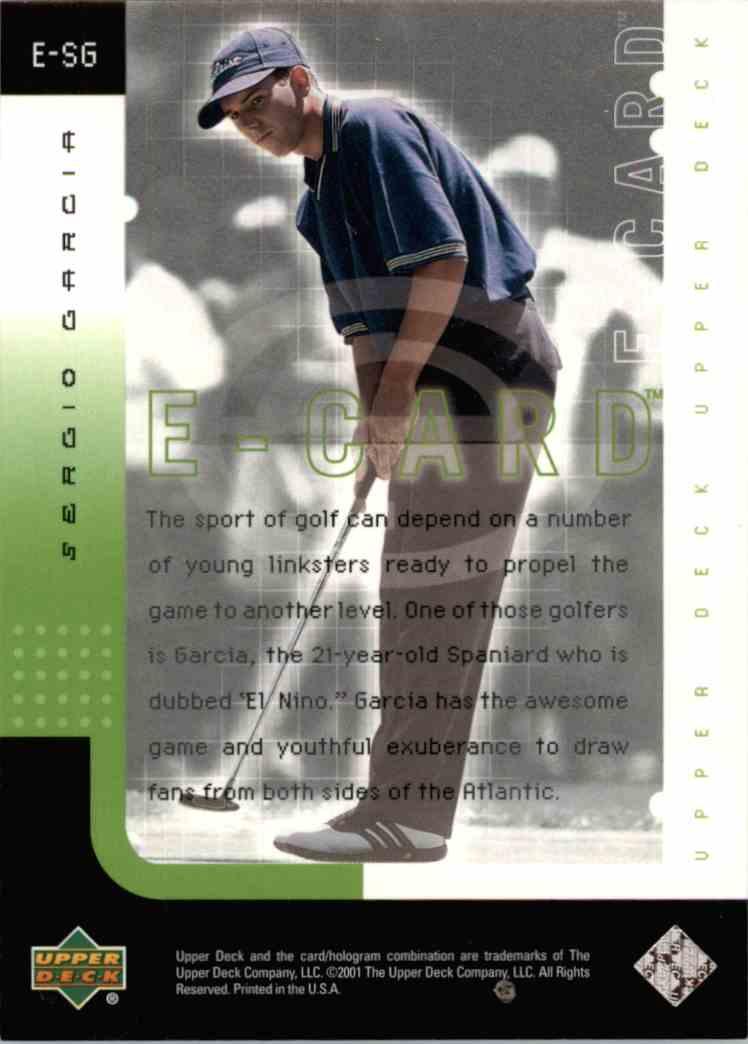 2001 Upper Deck Sergio Garcia #E-SG card back image