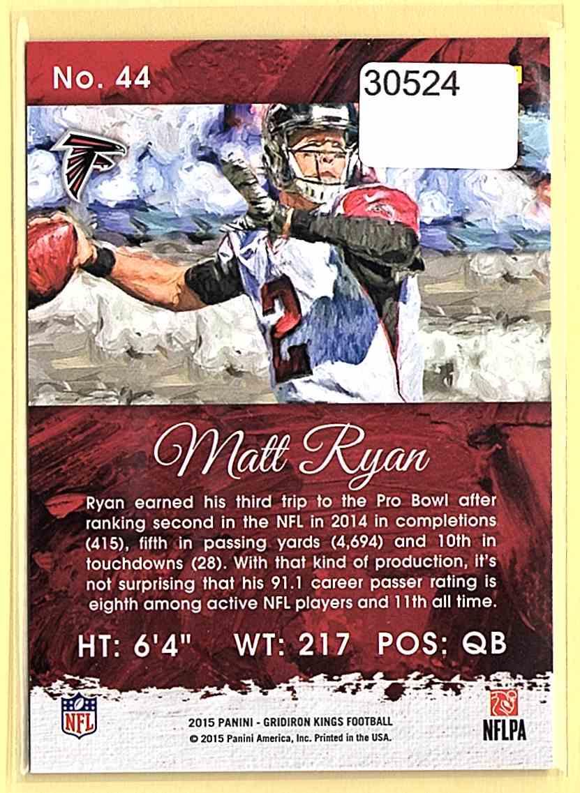 2015 Gridiron Kings Matt Ryan #44 card back image