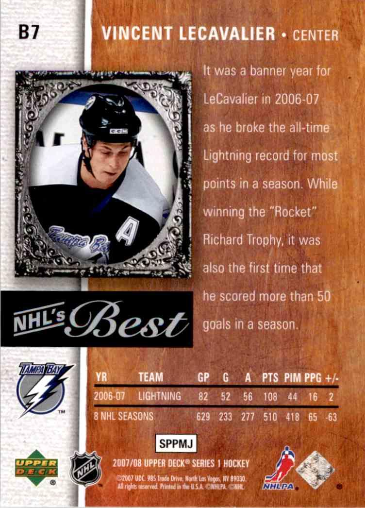 2007-08 Upper Deck Nhl's Best Vincent Lecavalier #B7 card back image