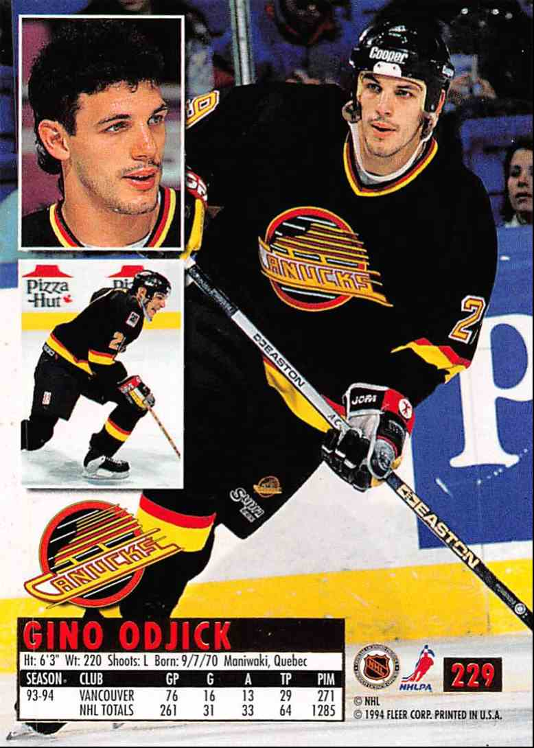 1994-95 Ultra Gino Ogjick #229 card back image