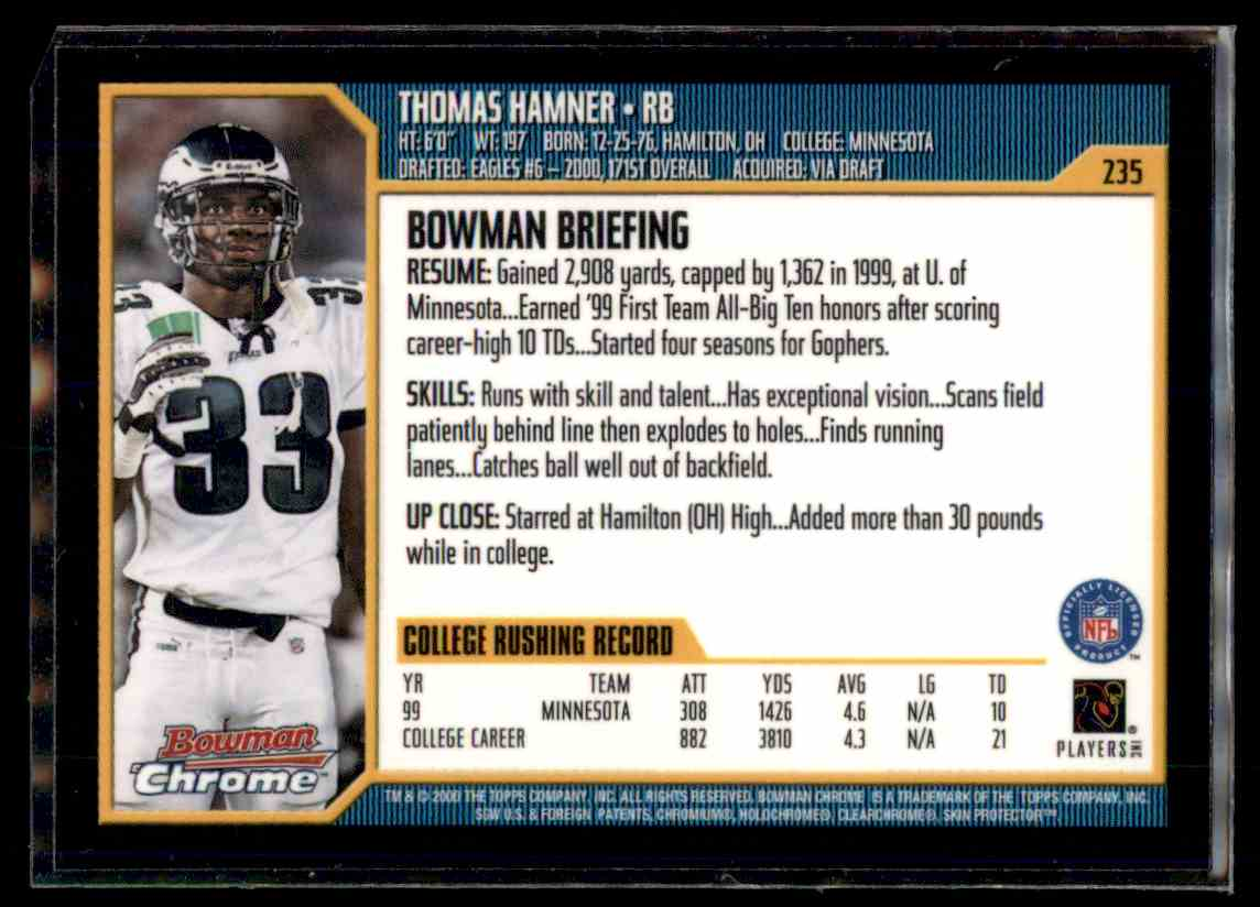 2000 Bowman Chrome Thomas Hamner #235 card back image