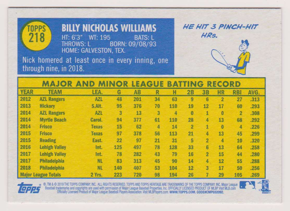 2019 Topps Heritage Nick Williams #218 card back image
