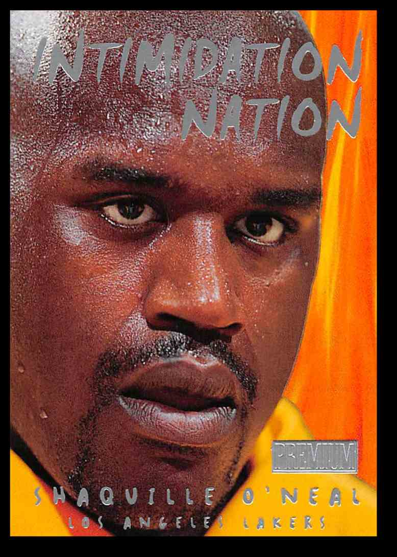 1998-99 Skybox Premium Intimidation Nation Shaquille O'Neal Basketball Card #1 card front image