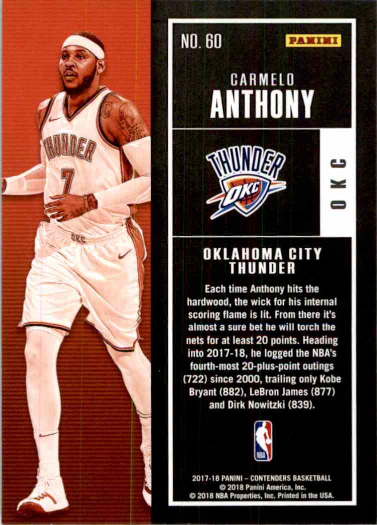 2017-18 Panini Contenders Base Carmelo Anthony #60 card back image
