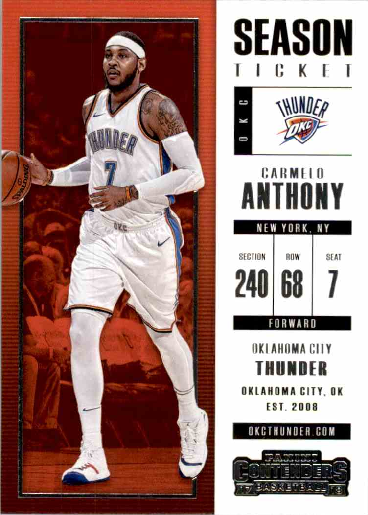 2017-18 Panini Contenders Base Carmelo Anthony #60 card front image