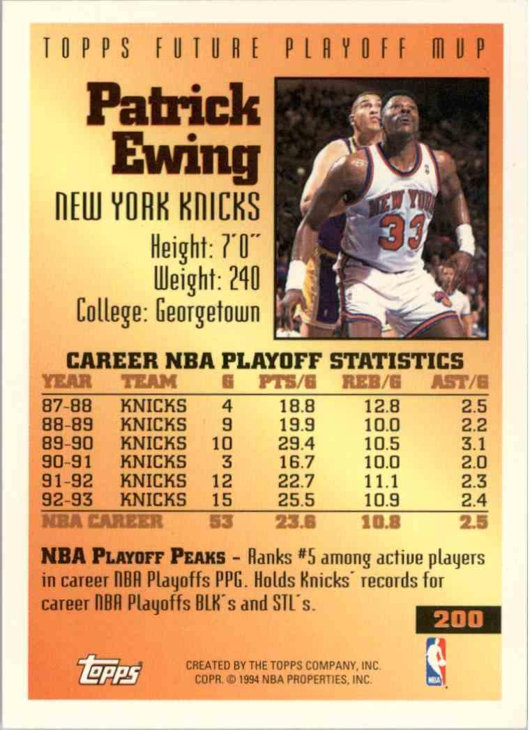 1994-95 Topps Patrick Ewing #200 card back image