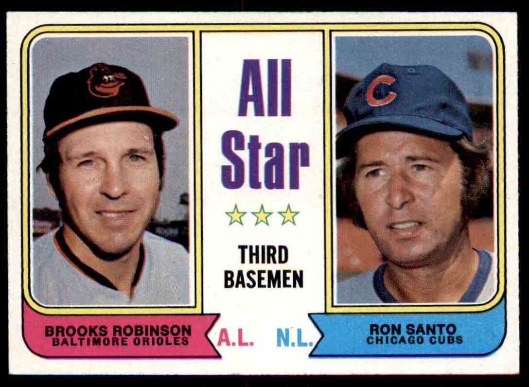 1974 Topps Brooks Robinson Ron Santo All Star Third Basemen #334 card front image