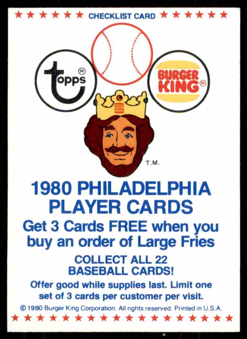 1980 Topps Burger King Team Checklist 0 On Kronozio