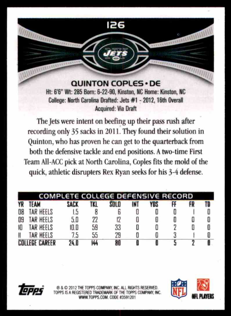 2012 Topps Quinton Coples RC #126 card back image