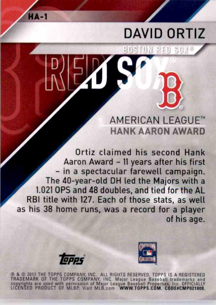 2017 Topps MLB Awards David Ortiz #HA1 card back image