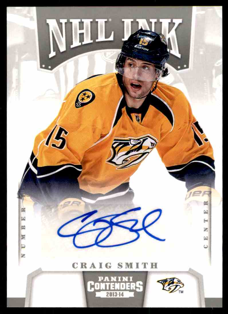 2013-14 Panini Contenders NHL Ink ! Craig Smith #I-CSM card front image