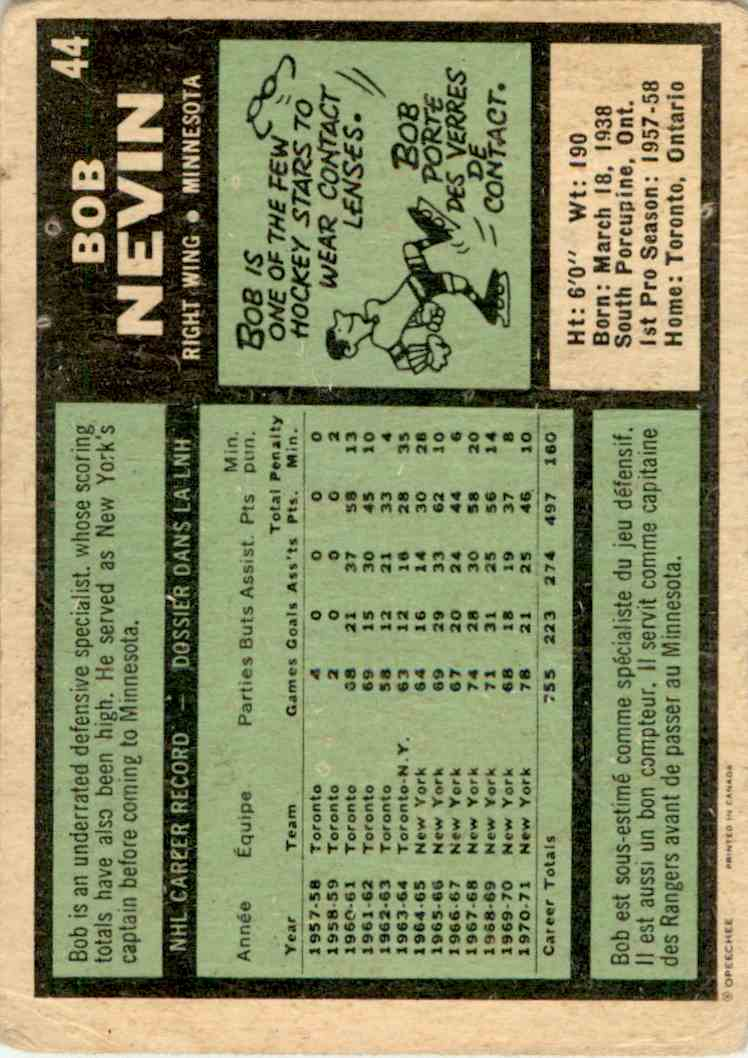 1971-72 O-Pee-Chee Bob Nevin #44 card back image