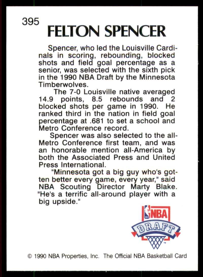 1990-91 Hoops Felton Spencer Ls RC #395 card back image