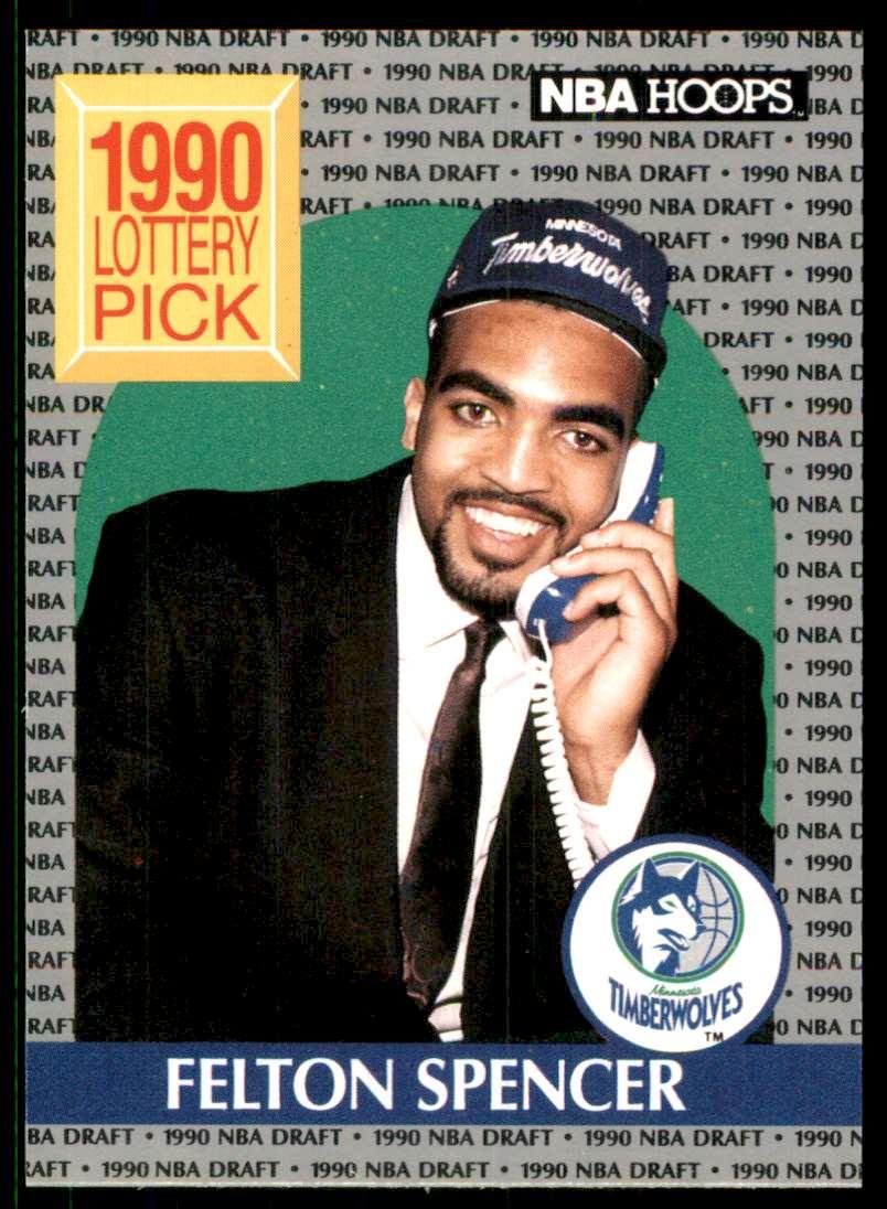 1990-91 Hoops Felton Spencer Ls RC #395 card front image