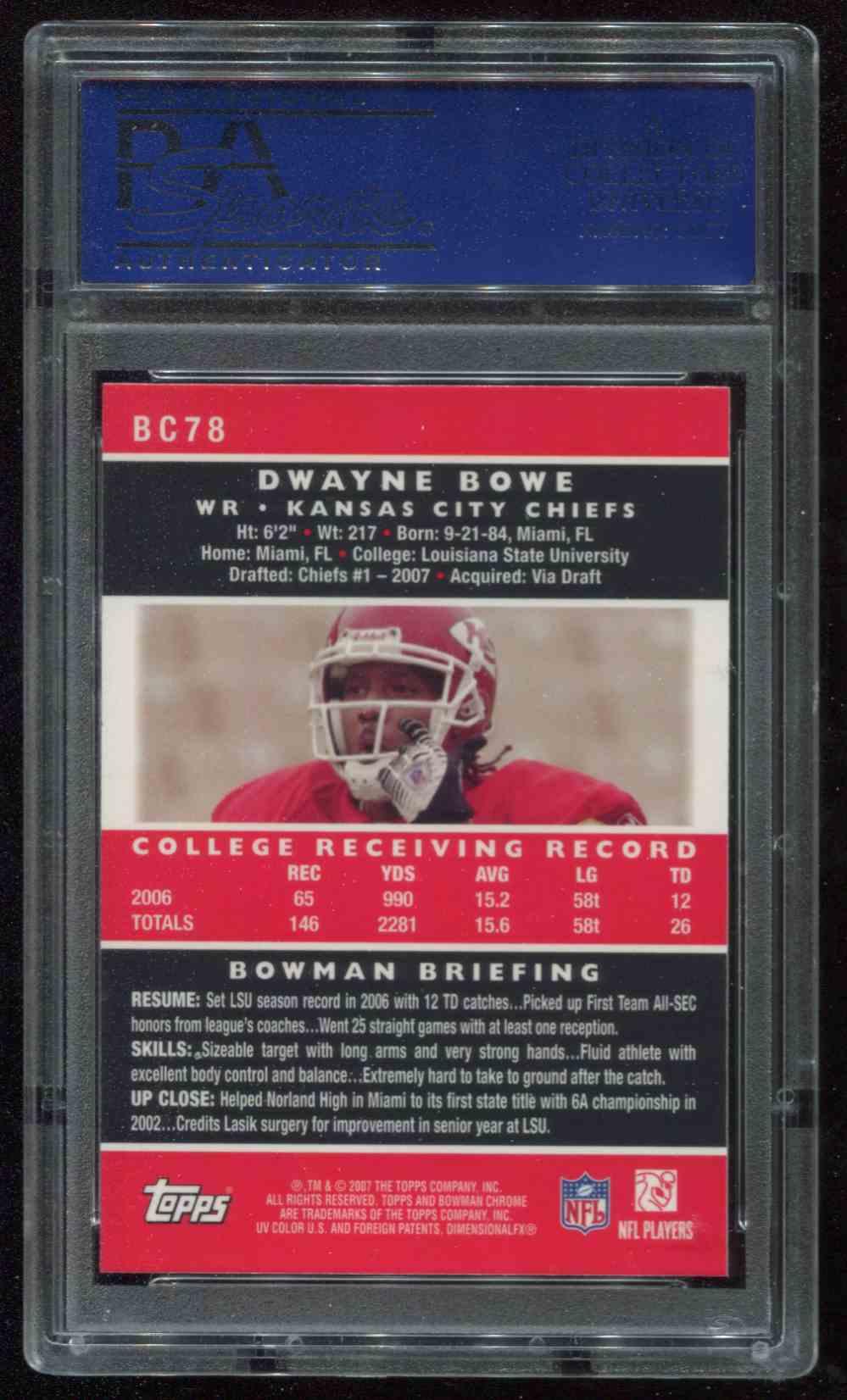 2007 Bowman Chrome Dwayne Bowe #BC78 card back image