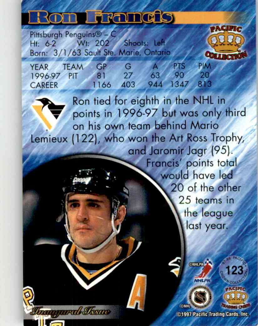 1997-98 Pacific Crown Collection Ron Francis #123 card back image