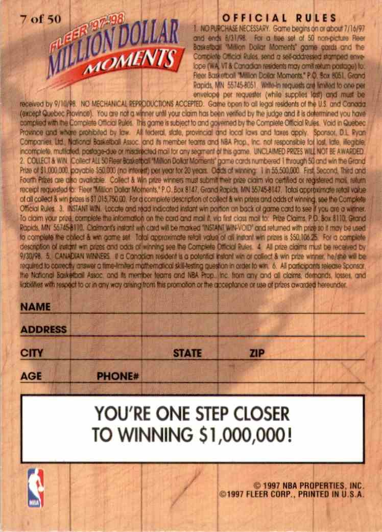 1997-98 Fleer Million Dollar Moments Patrick Ewing #7 card back image