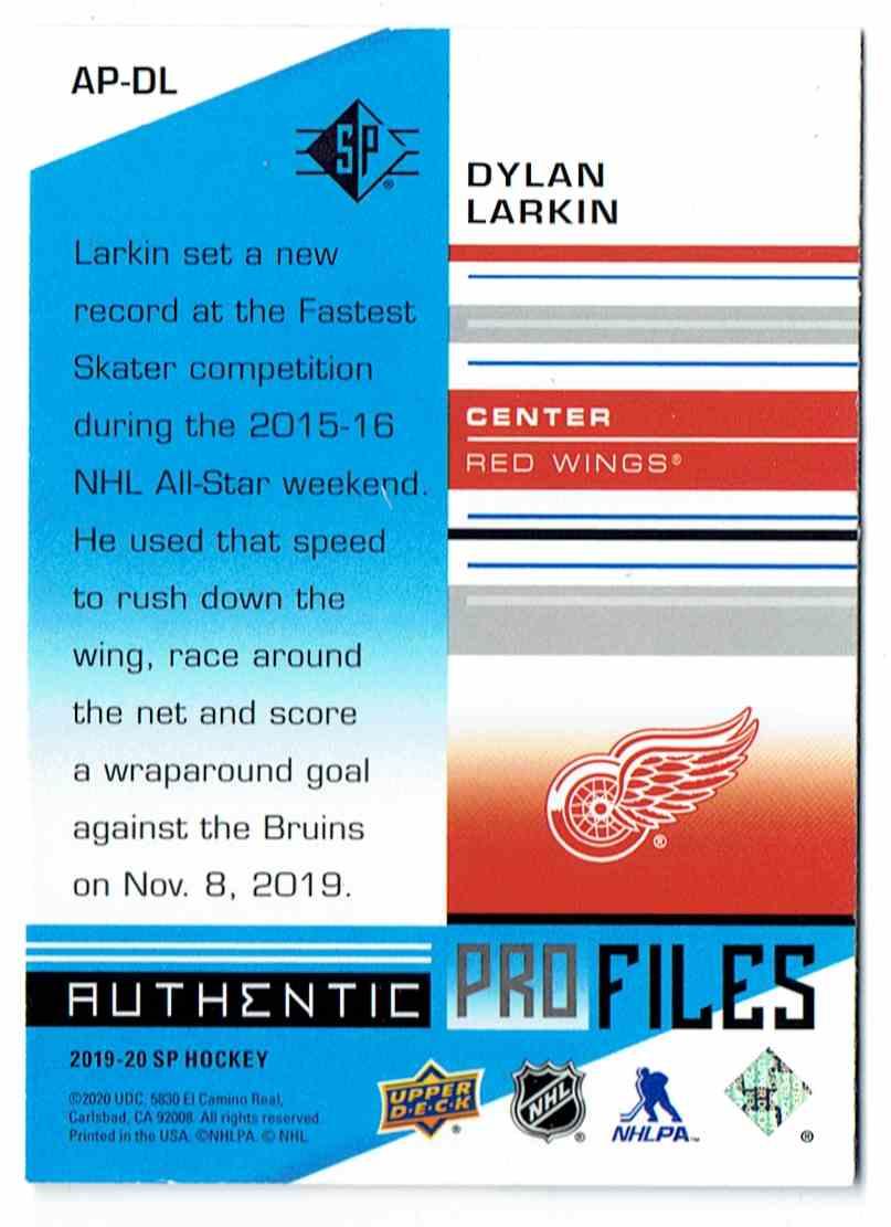 2019-20 SP Profiles Authentic Dylan Larkin #AP-DL card back image