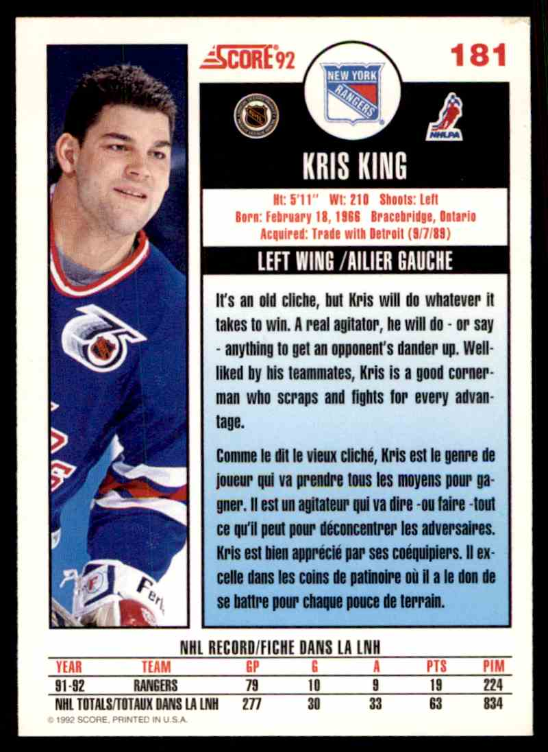 1992-93 Score Canadian Kris King #181 card back image