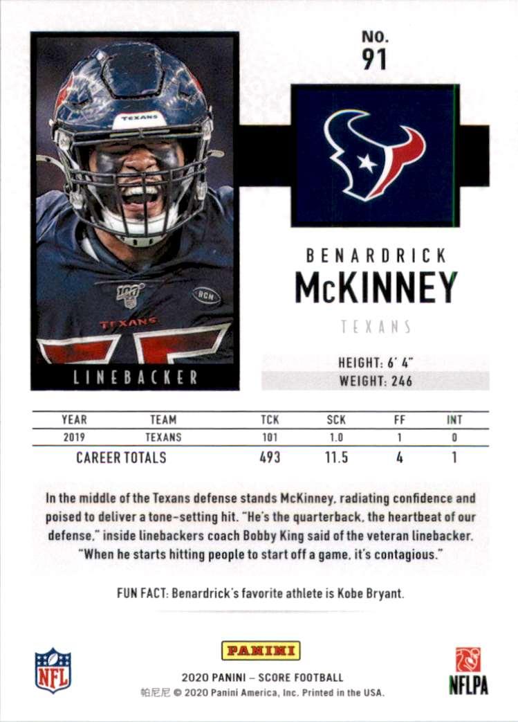 2020 Score Benardrick McKinney #91 card back image