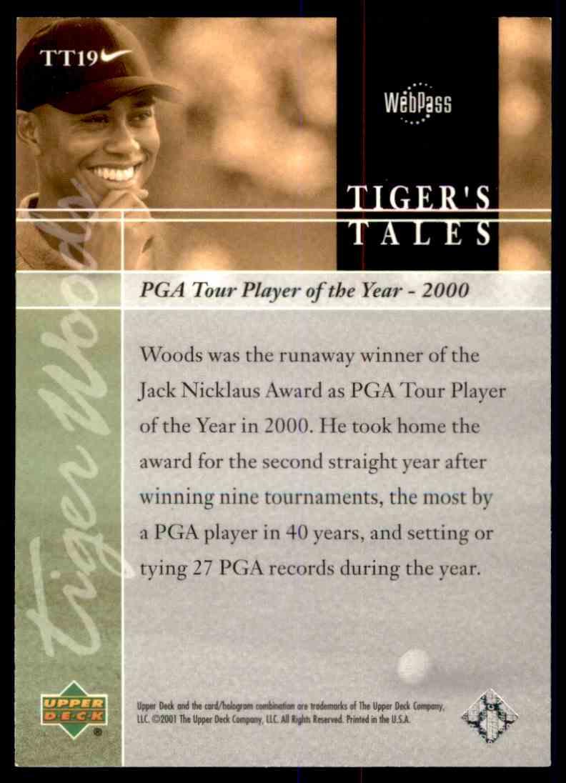 2001 Upper Deck Tiger's Tales Tiger Woods #TT19 card back image
