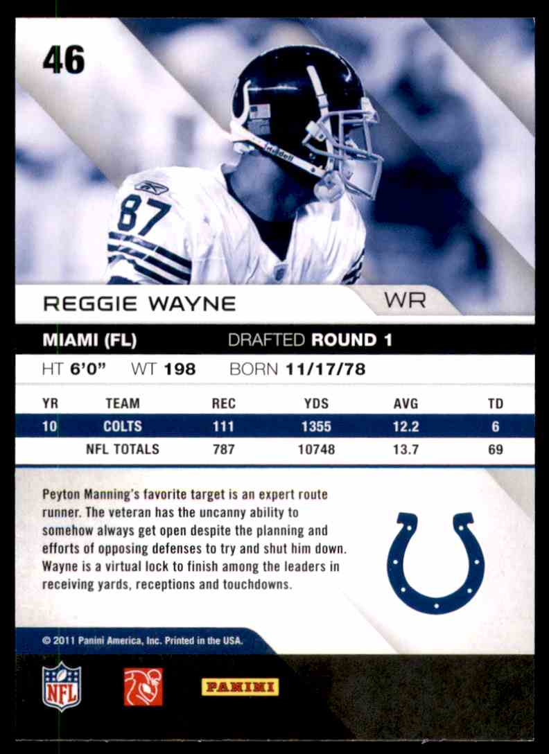 2011 Absolute Memorabilia Retail Reggie Wayne #46 card back image