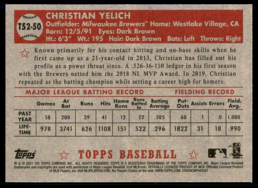 2021 Topps '52 Topps Redux Christian Yelich #T5250 card back image