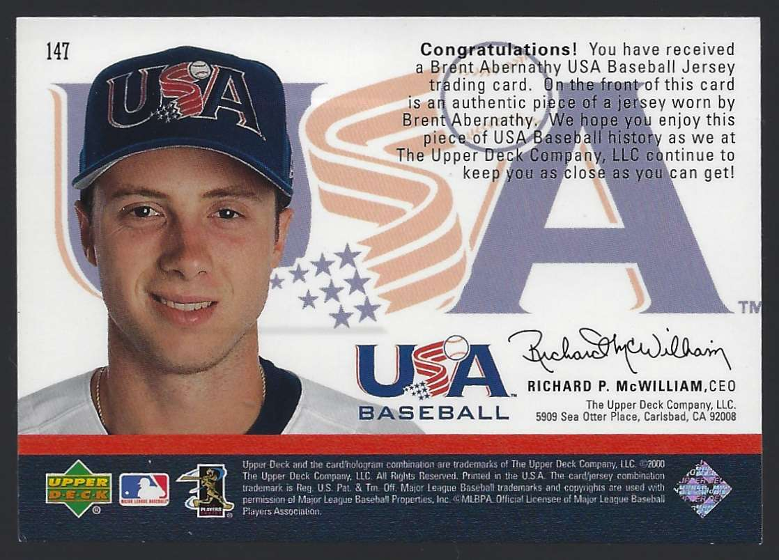2000 Black Diamond Rookie Edition Brent Abernathy USA RC #147 card back image