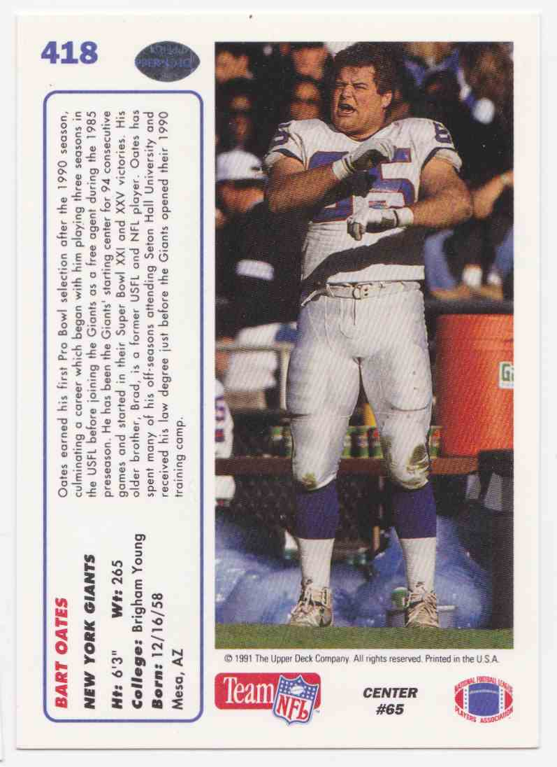 1991 Upper Deck Bart Oates #418 card back image