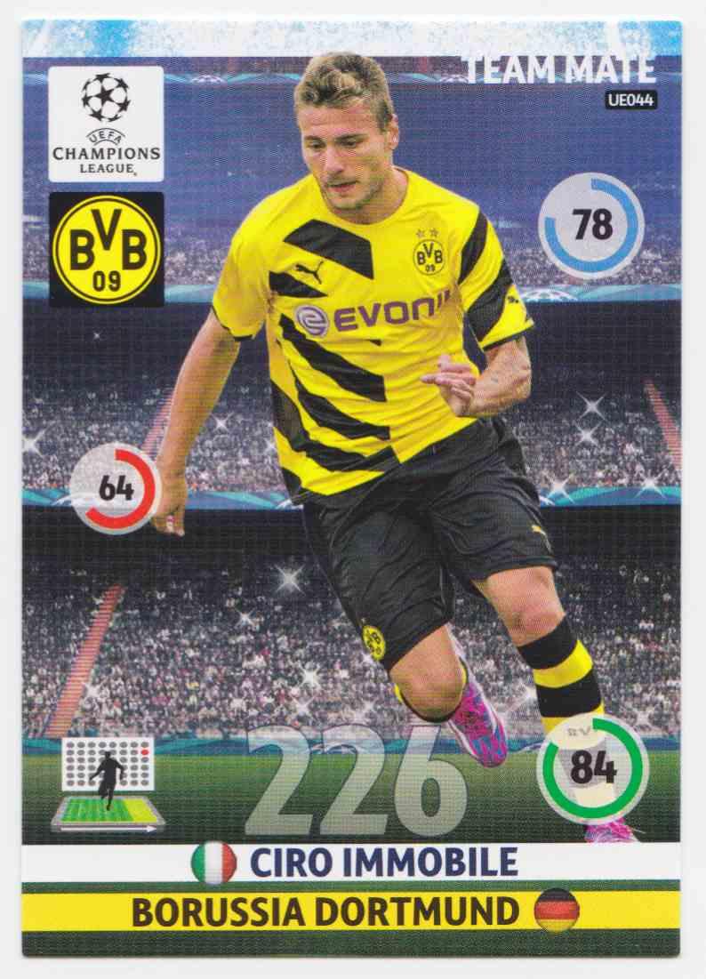2014 Panini Adrenalyn XL Uefa Champions League Season Update Base Team Mate Ciro Immobile #UE044 card back image