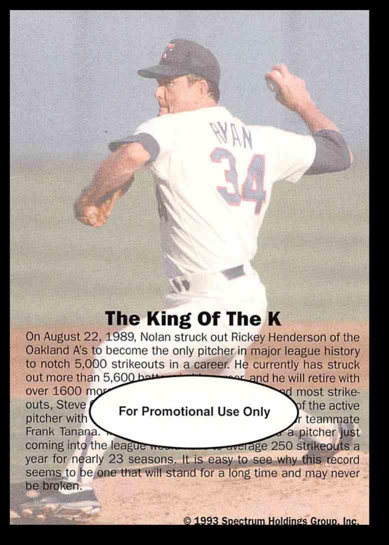 1993 Spectrum Spectrum Ryan Nolan Ryan/The King Of K #7 card back image