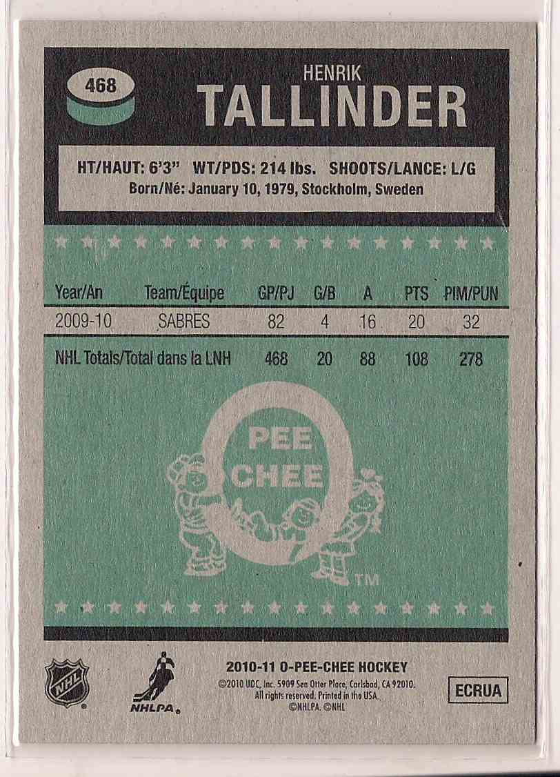 2010-11 O-Pee-Chee Retro Henrik Tallinder #468 card back image