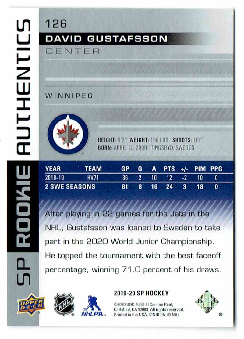 2019-20 SP Rookie Authentics David Gustafsson #126 card back image