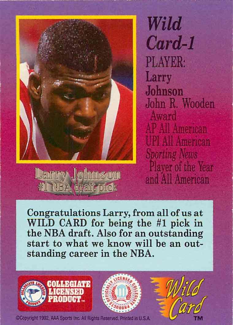1992-93 Wild Card Larry Johnson #1 card back image