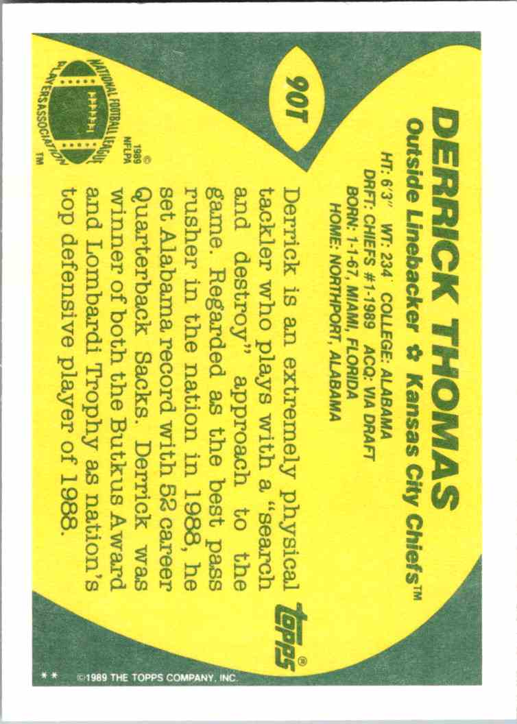 1989 Topps Traded Derrick Thomas #90T card back image