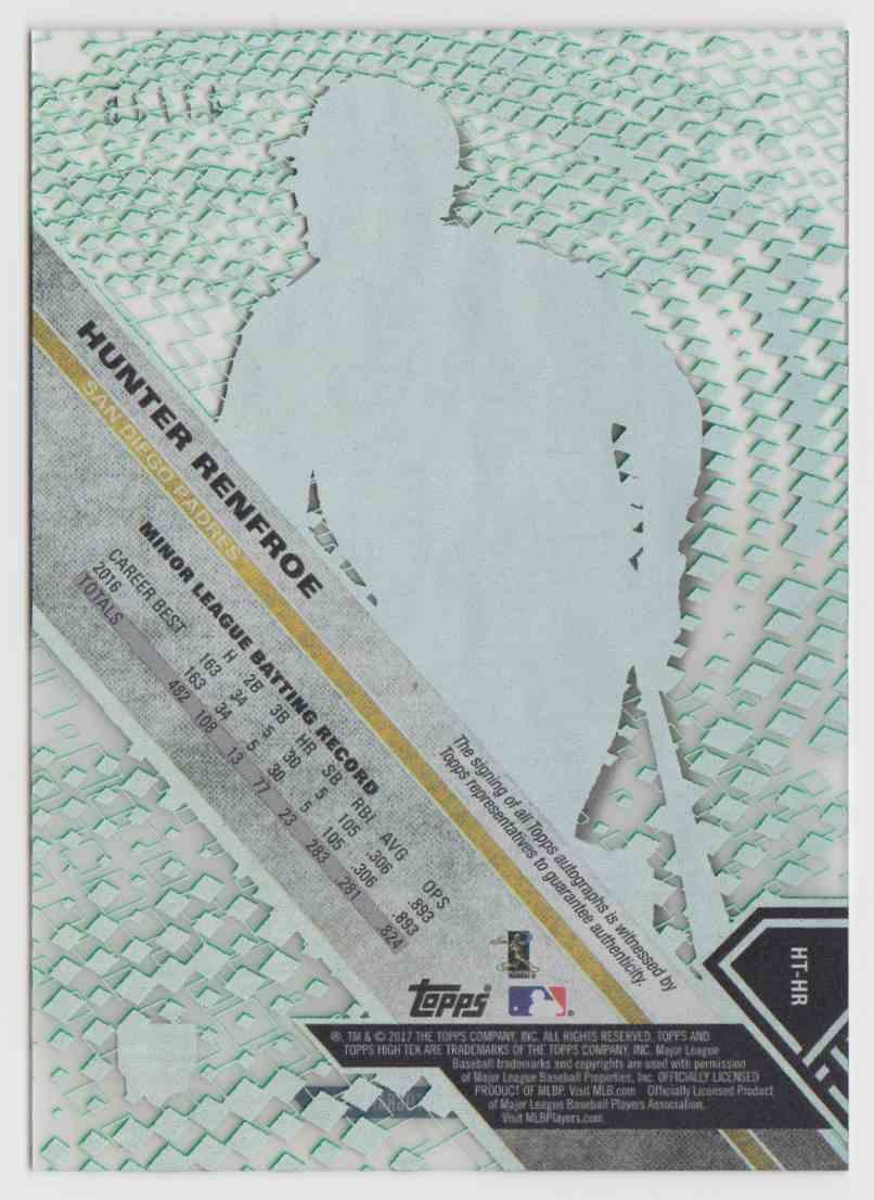 2017 Topps High Tek Green Rainbow Hunter Renfroe #HT-HR card back image