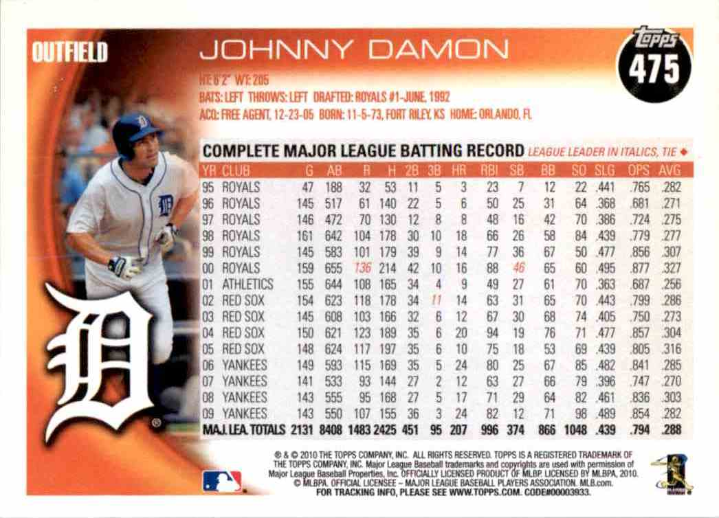 2010 Topps Johnny Damon #475 card back image